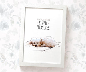"Nursery print of a Maltese Dog with text ""Hapiness is a Lazy Day"""