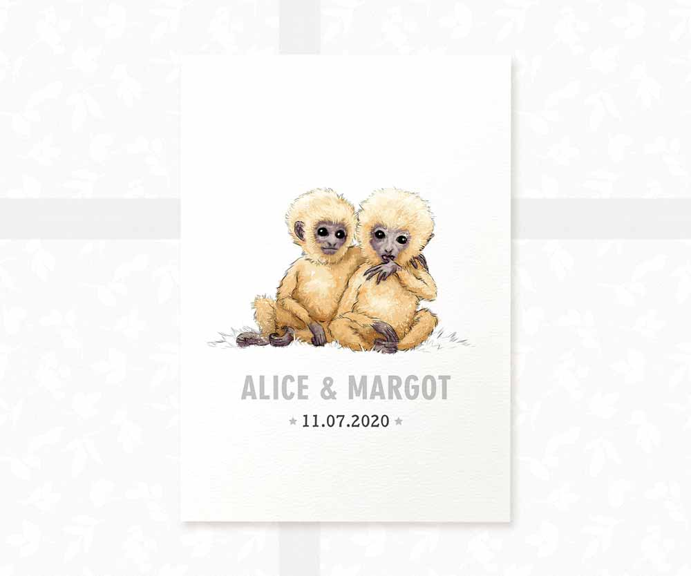 Monkey twin nursery print with names