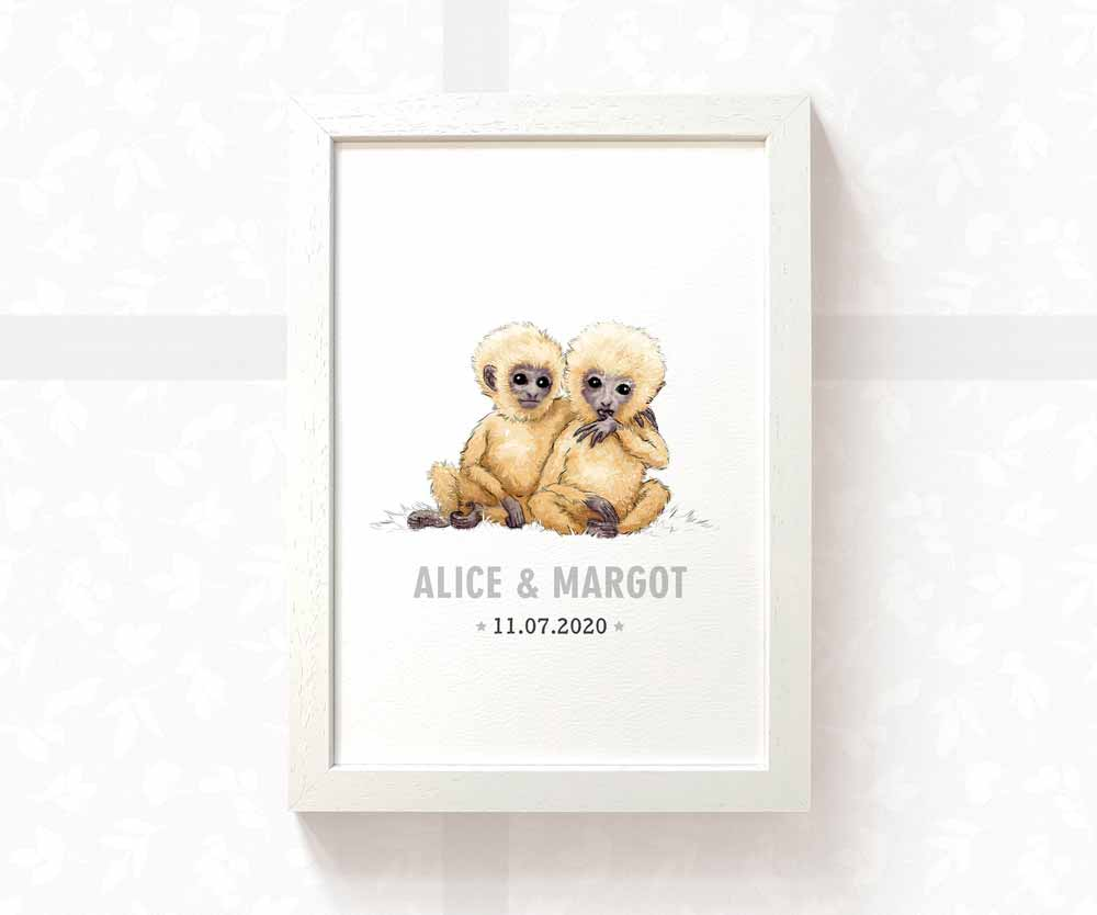 Monkeys twin baby name date of birth print