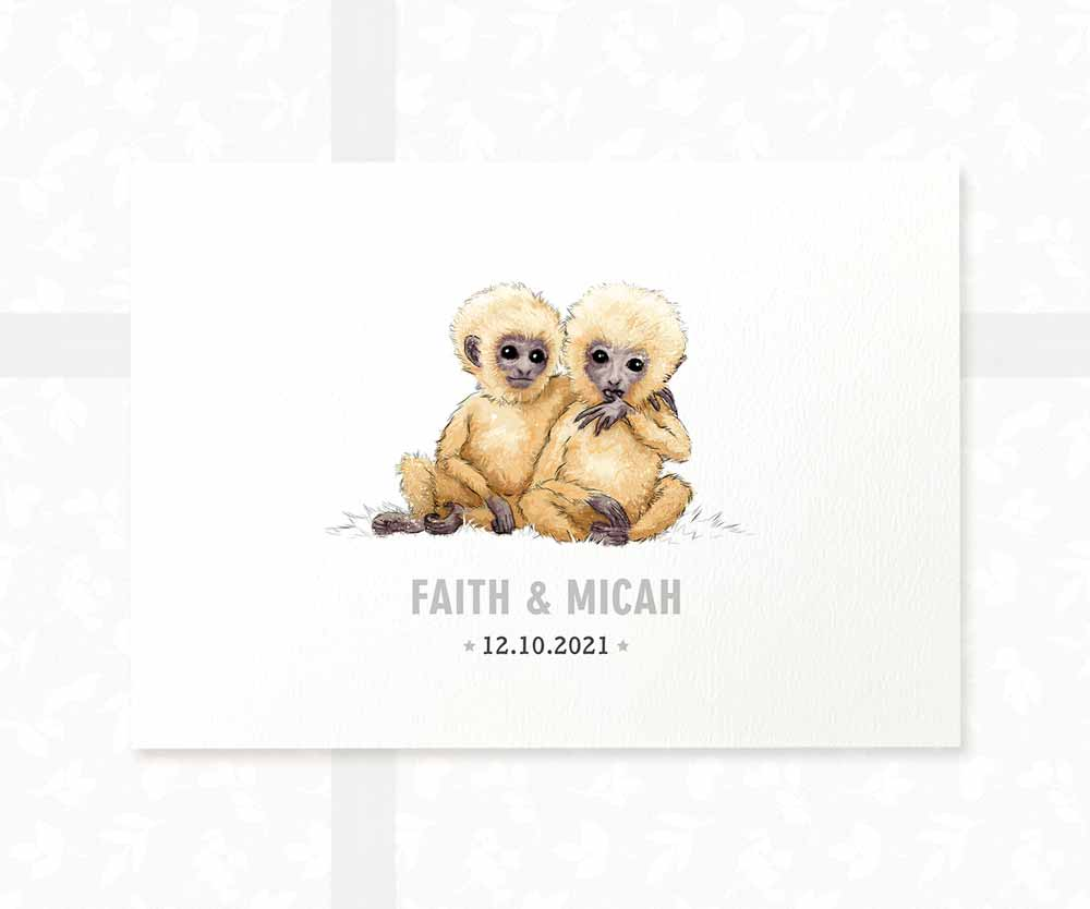 Monkey twin baby name sign and date