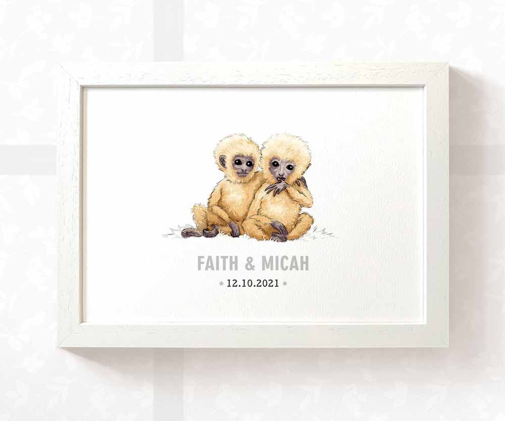 Twin baby monkeys name print
