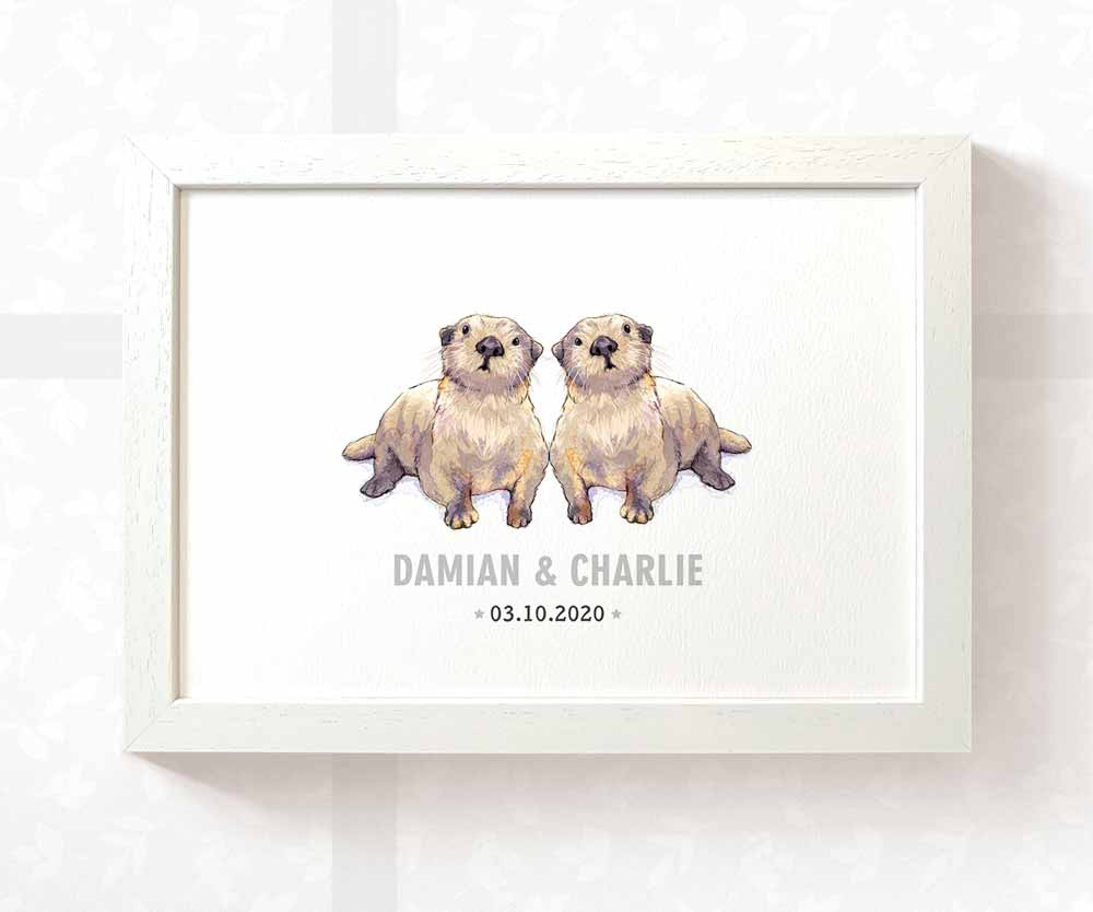 Twin baby otters name print