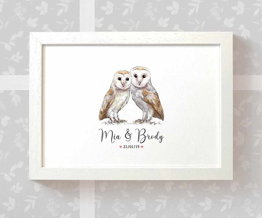 Owl anniversary print with names and date