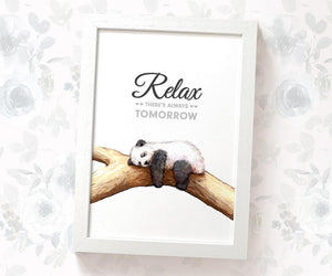 "Panda Motivational Wall Art with quote ""Relax, there's always tomorrow"""