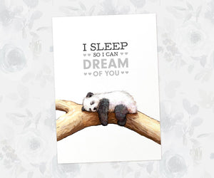"Panda Wall Art with quote ""I sleep so I can dream of you"""