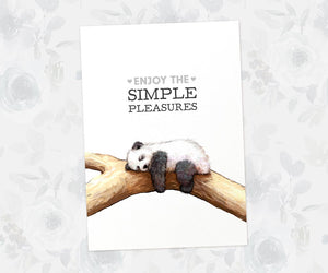 "Panda Inspirational Poster with quote ""Enjoy the simple pleasures"""