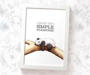 "Panda Motivational Wall Art with quote ""Enjoy the simple pleasures"""
