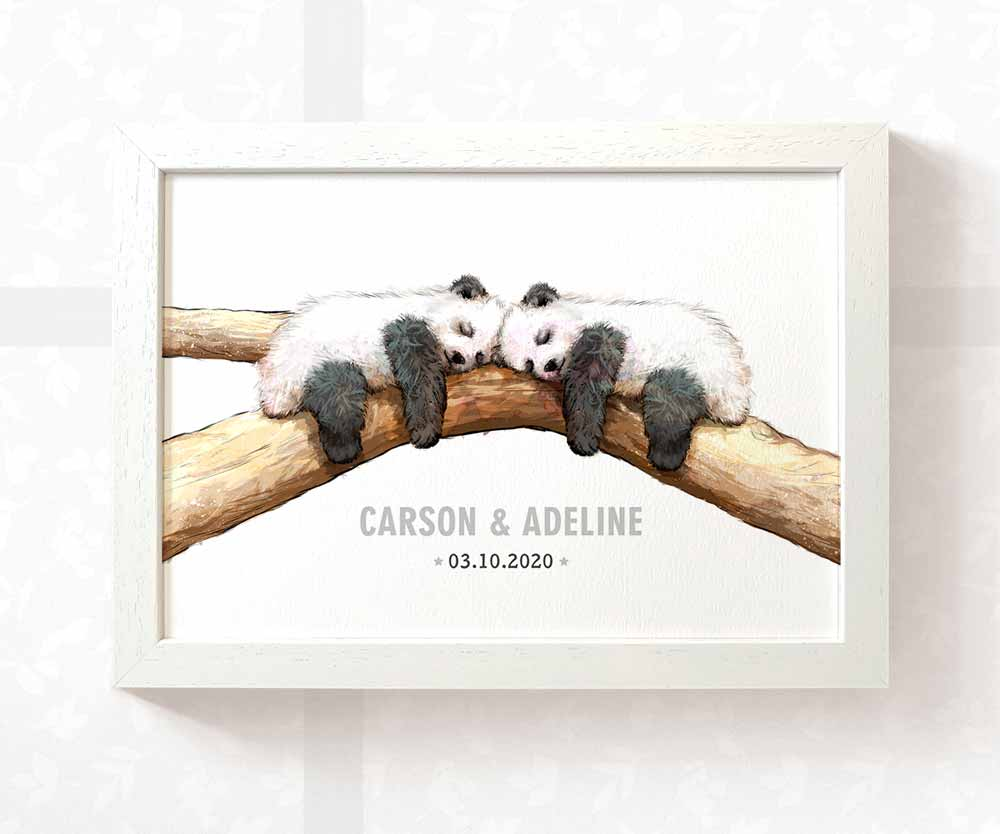 Pandas twin baby name date of birth print