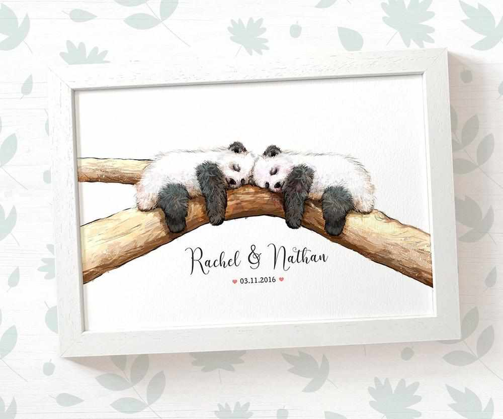 Panda couple wedding name and date print