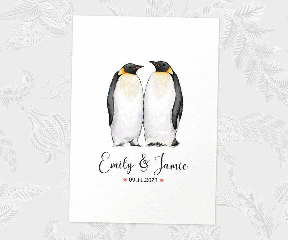 personalised penguin wedding print