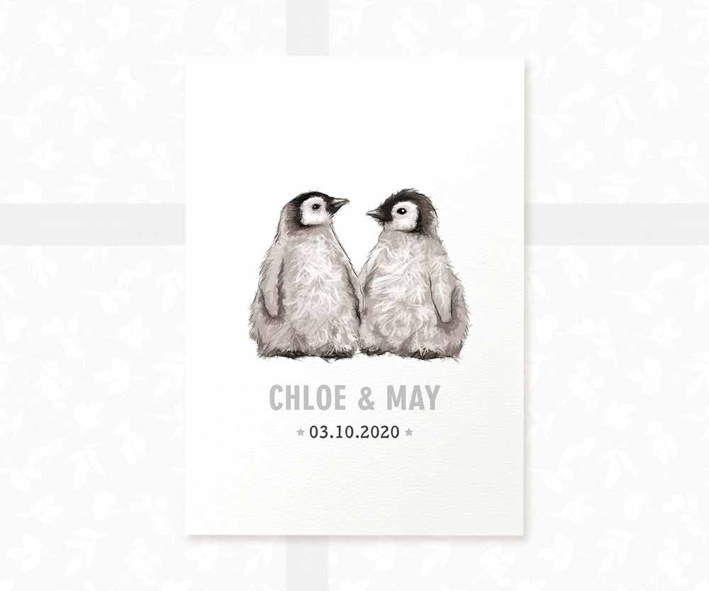 Penguin twin nursery print with names