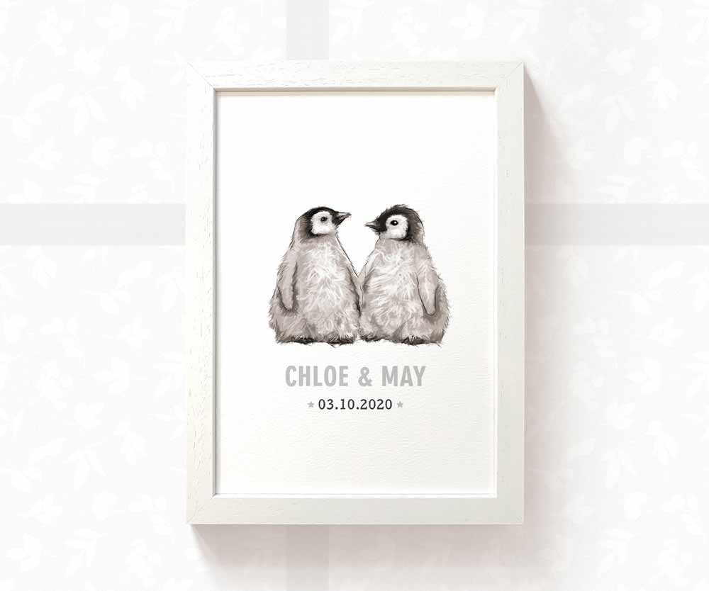 Twin baby penguin name print