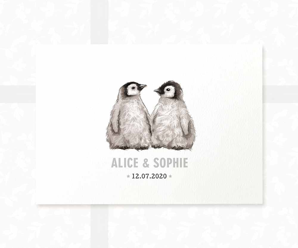 Penguin twin baby name sign and date