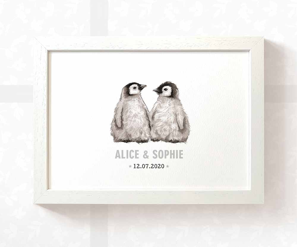 Penguins twin baby name date of birth print