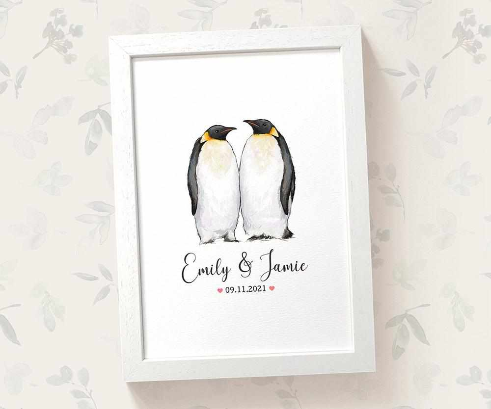 Penguin anniversary print with names and date