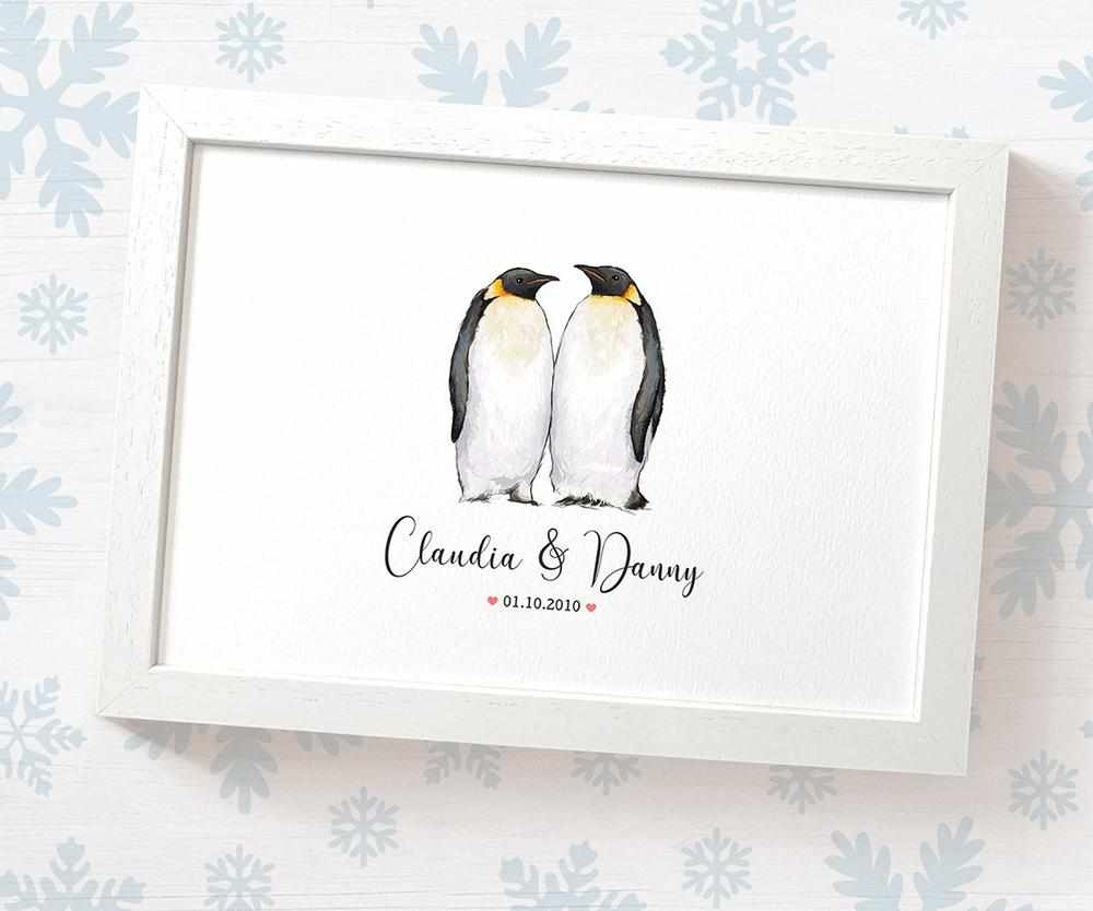 Penguin couple wedding name and date print
