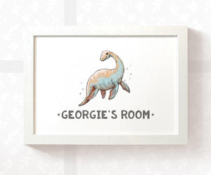 Dinosaur Plesiosaur Room Sign with Custom Name