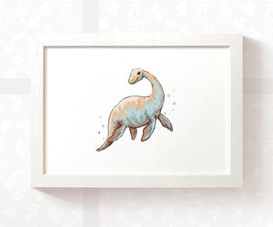 Plesiosaur Nursery Art Print | Dinosaur Children's Wall Art