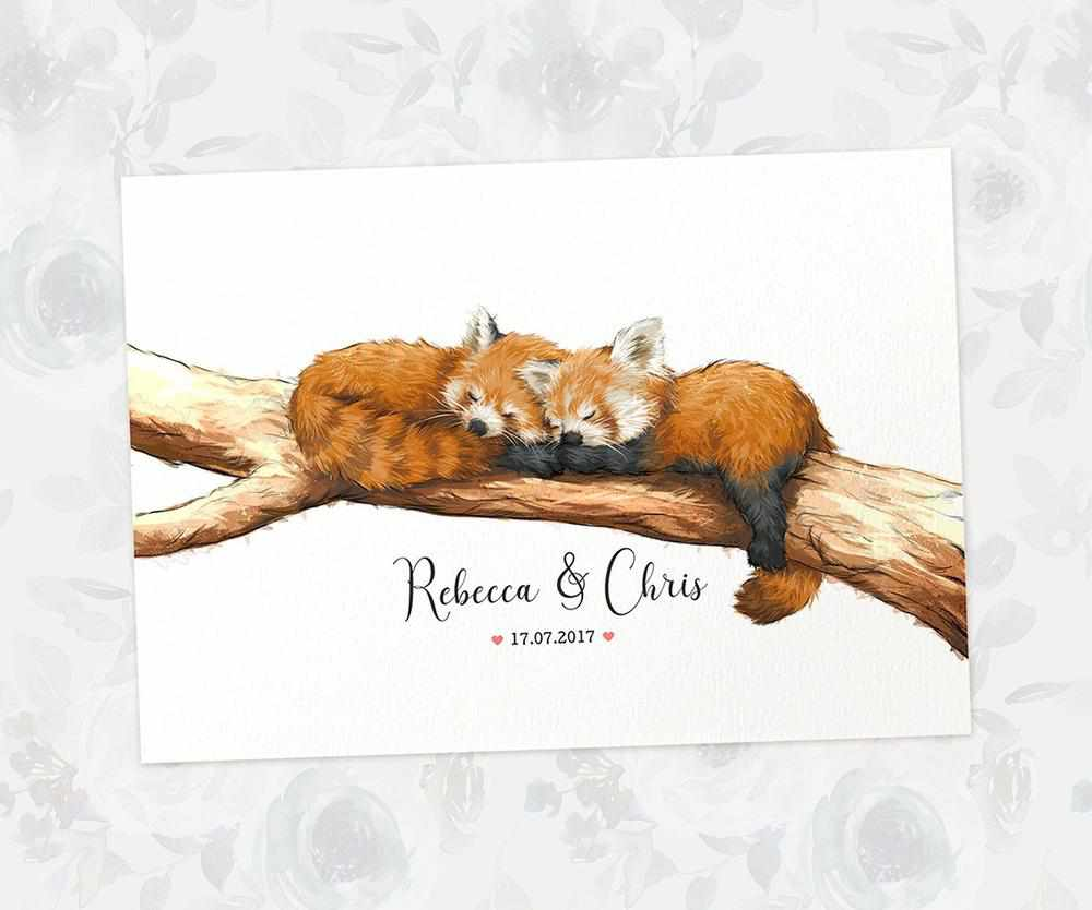 Red panda print with names and date