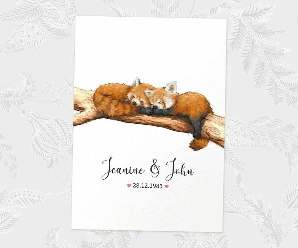 Red panda couple print with names