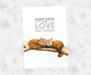 "Art Print of two red pandas sleeping on branch beneath quote ""Keep Calm and Love Red Pandas"""