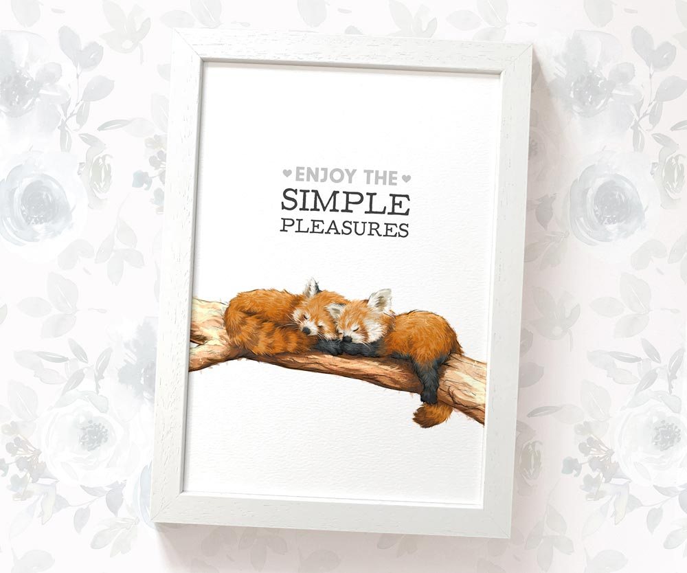 "Red Panda art print with text ""Enjoy the simple pleasures"""
