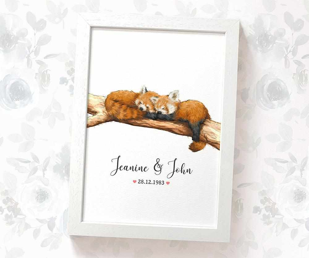 Personalised red panda anniversary print