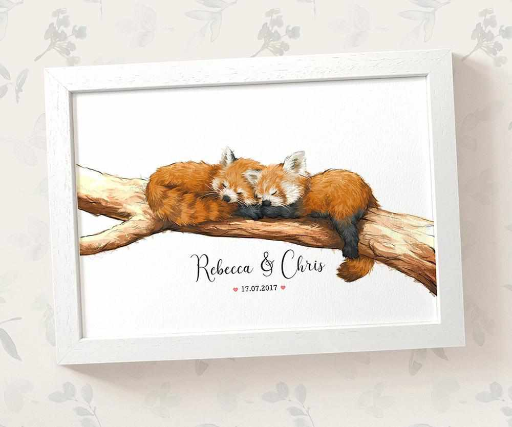Red Panda anniversary print with names and date