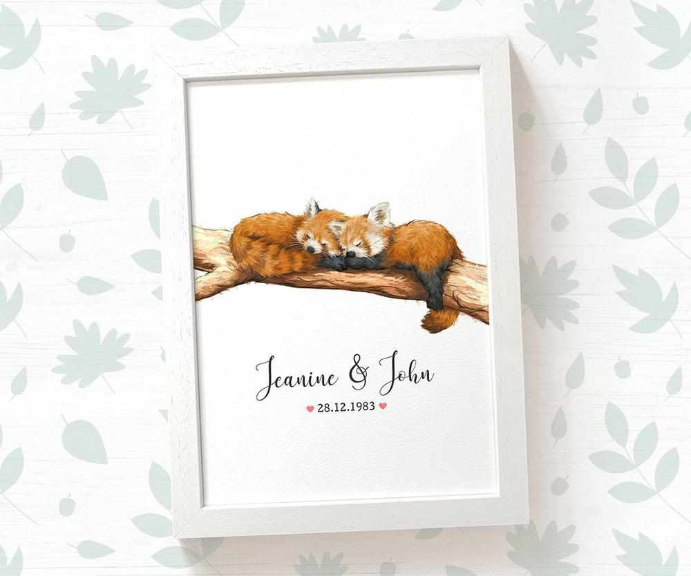 Red panda couple wedding name and date print