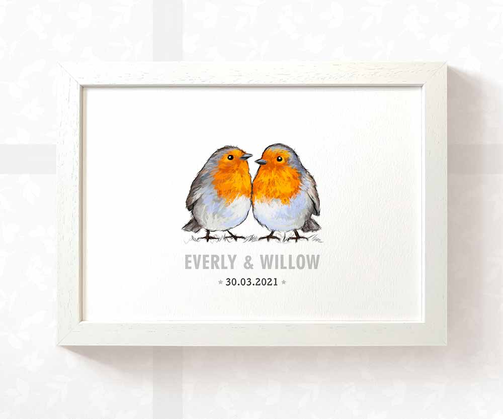 Twin baby name print with birds