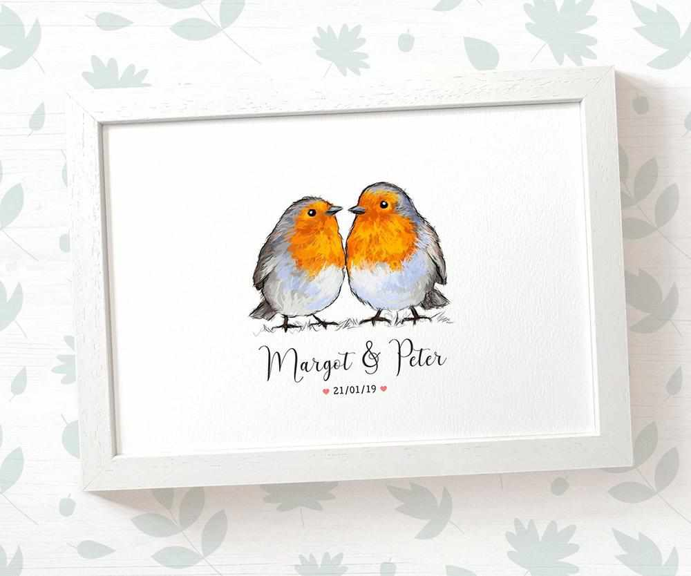 Robin couple wedding name and date print
