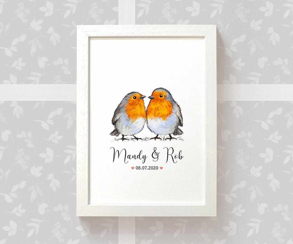 Robin anniversary print with names and date