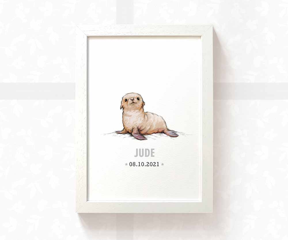 Seal baby birth date print