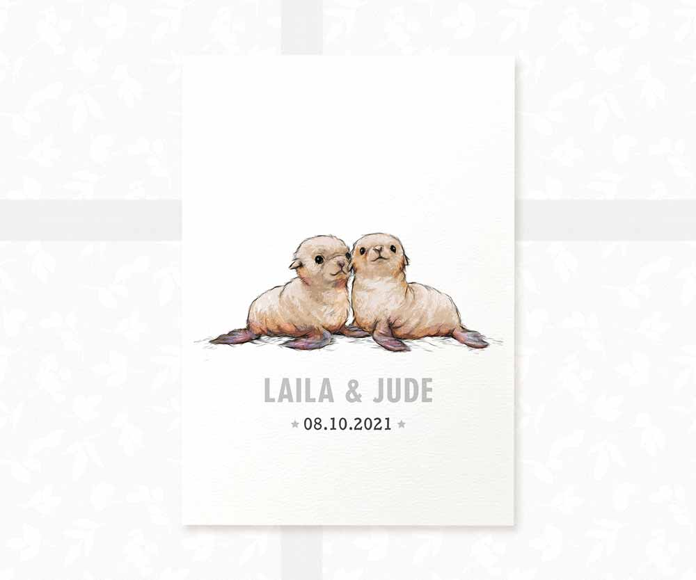 Seal twin baby name date of birth print