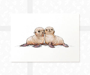 Twin Seal Pup Ocean Nursery Wall Art