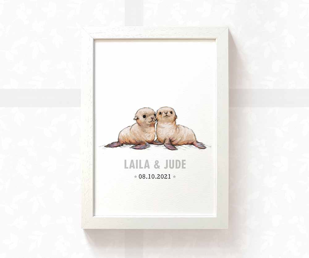 Seal twin nursery print with names