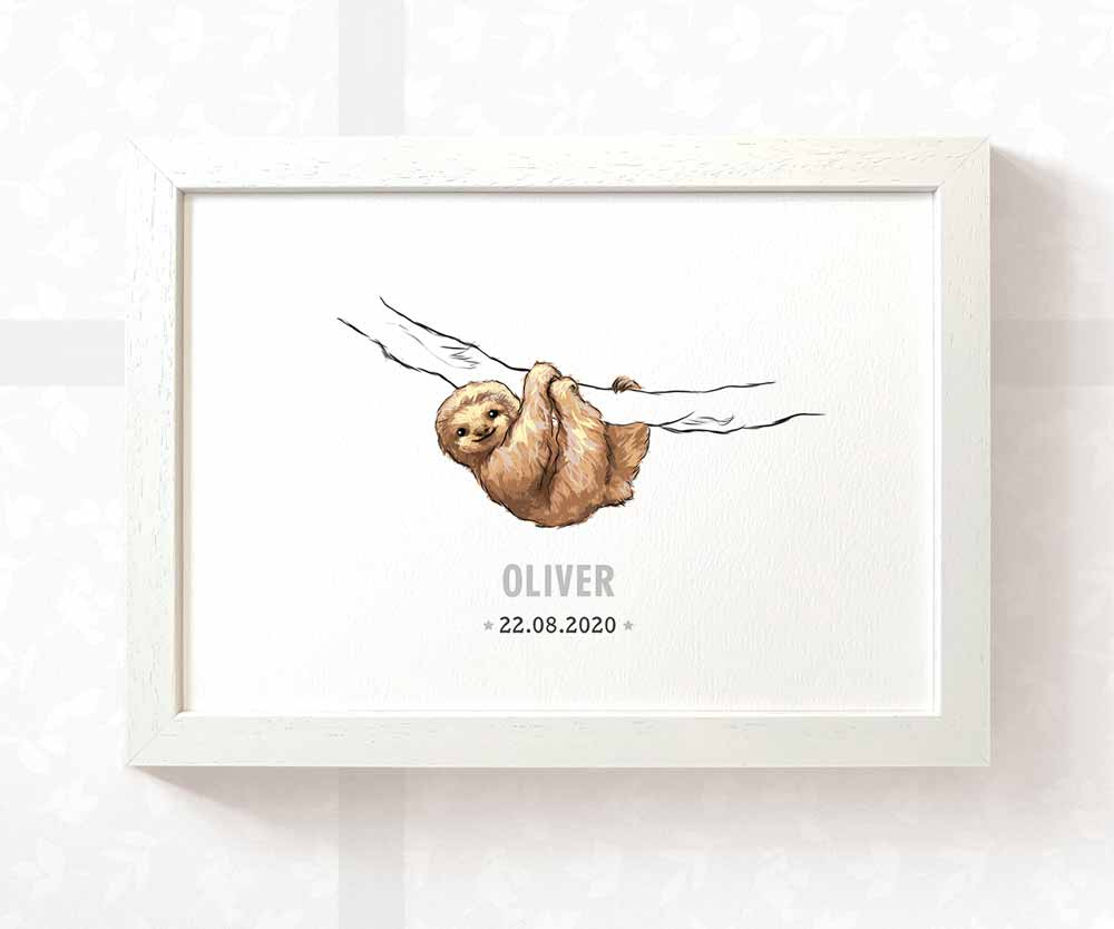 Sloth baby name date of birth print