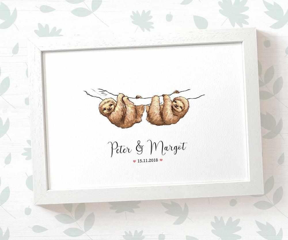 Sloth couple wedding name and date print