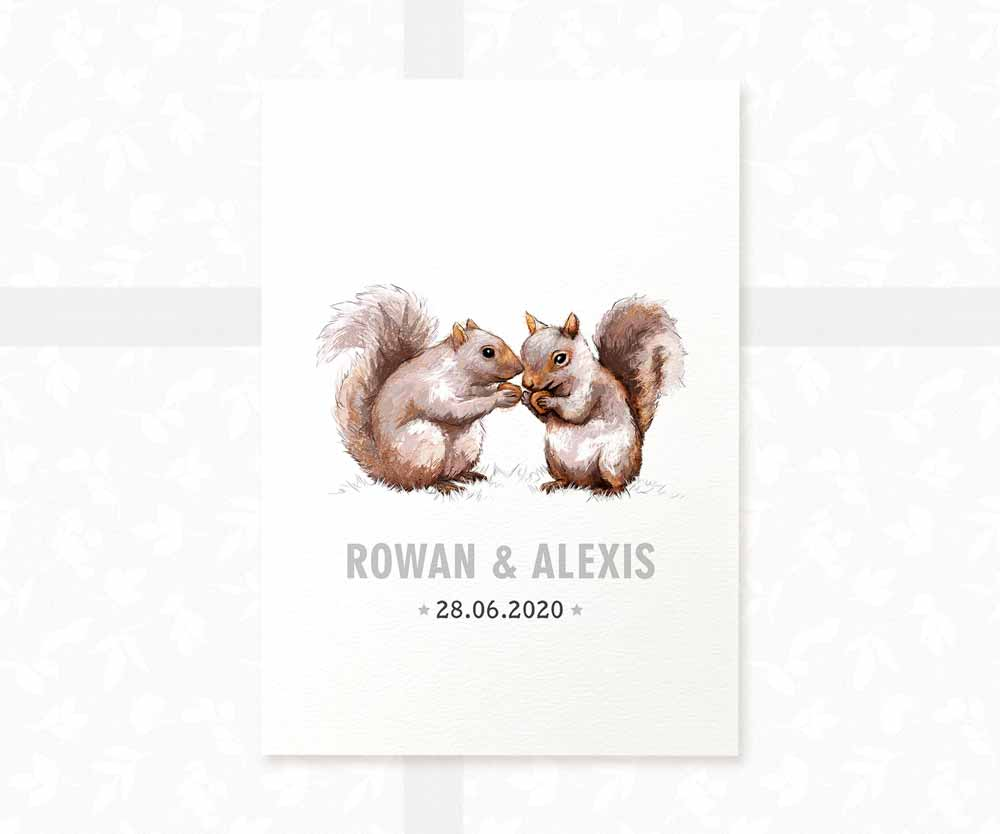 Squirrel twin baby name date of birth print