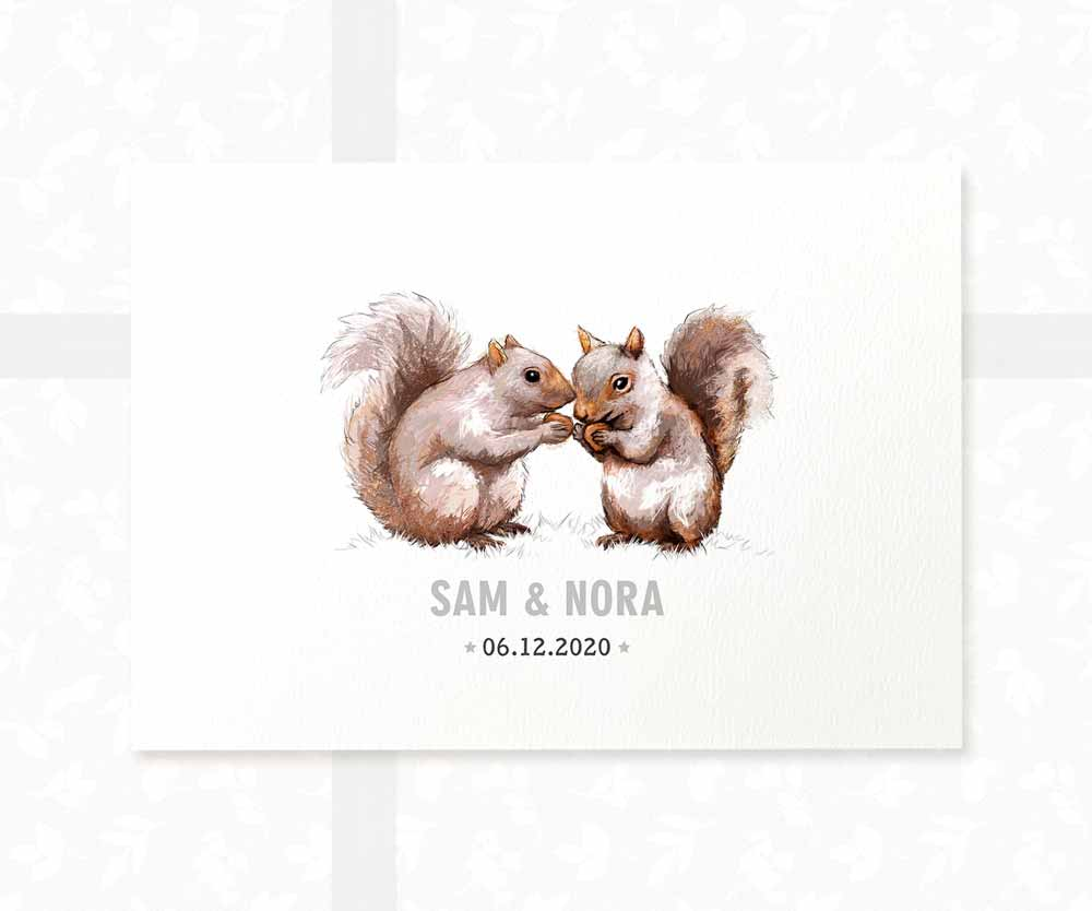 Squirrel twin baby name sign and date