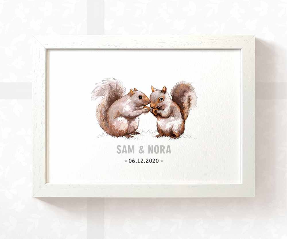 Twin baby squirrel name print