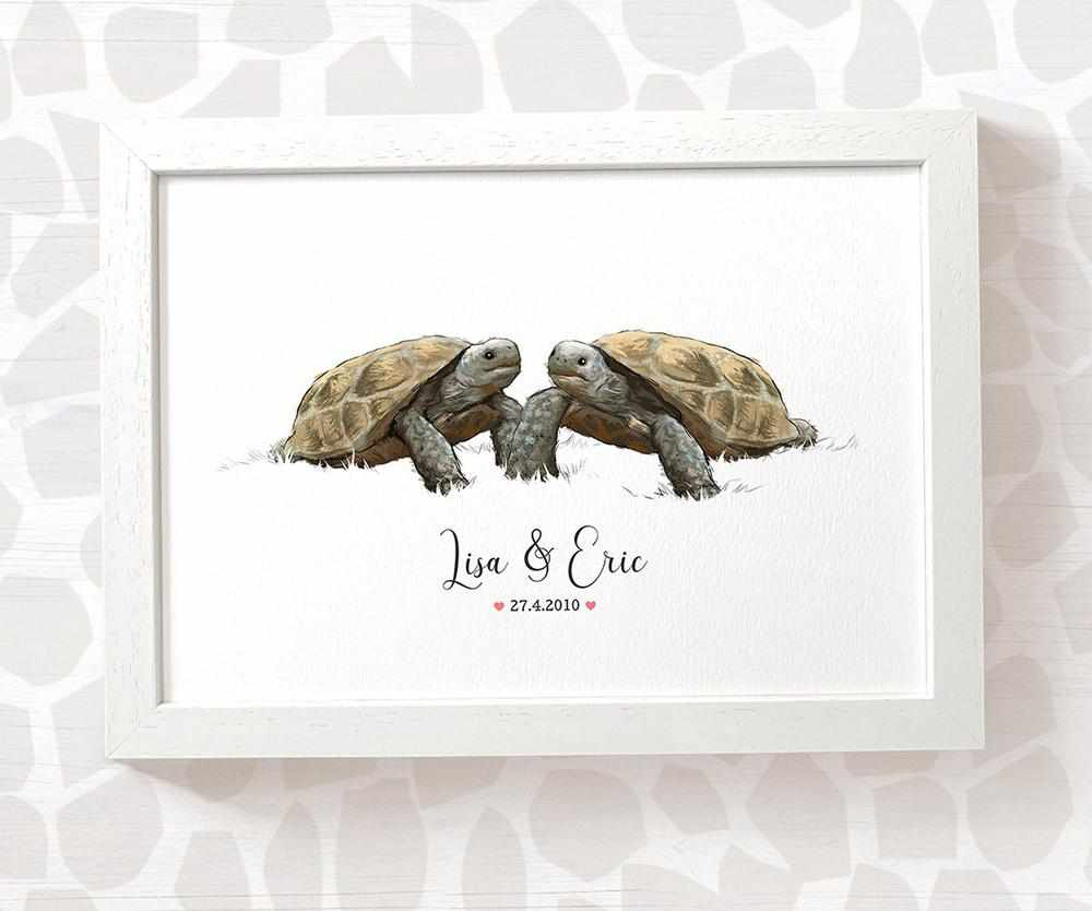 Tortoise couple wedding name and date print