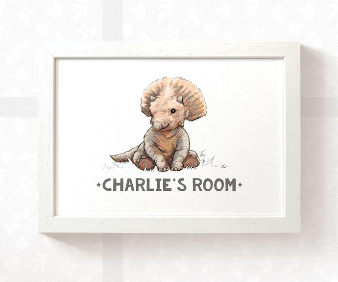 Triceratops Kid's Name Room Sign | Children's Dinosaur Bedroom Wall Art