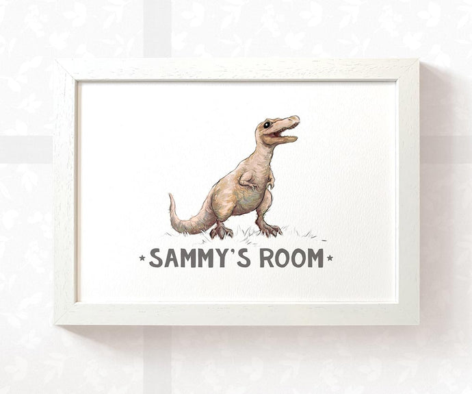 Dinosaur T Rex Room Sign with Custom Name