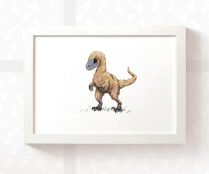 Velociraptor dinosaur children's wall art