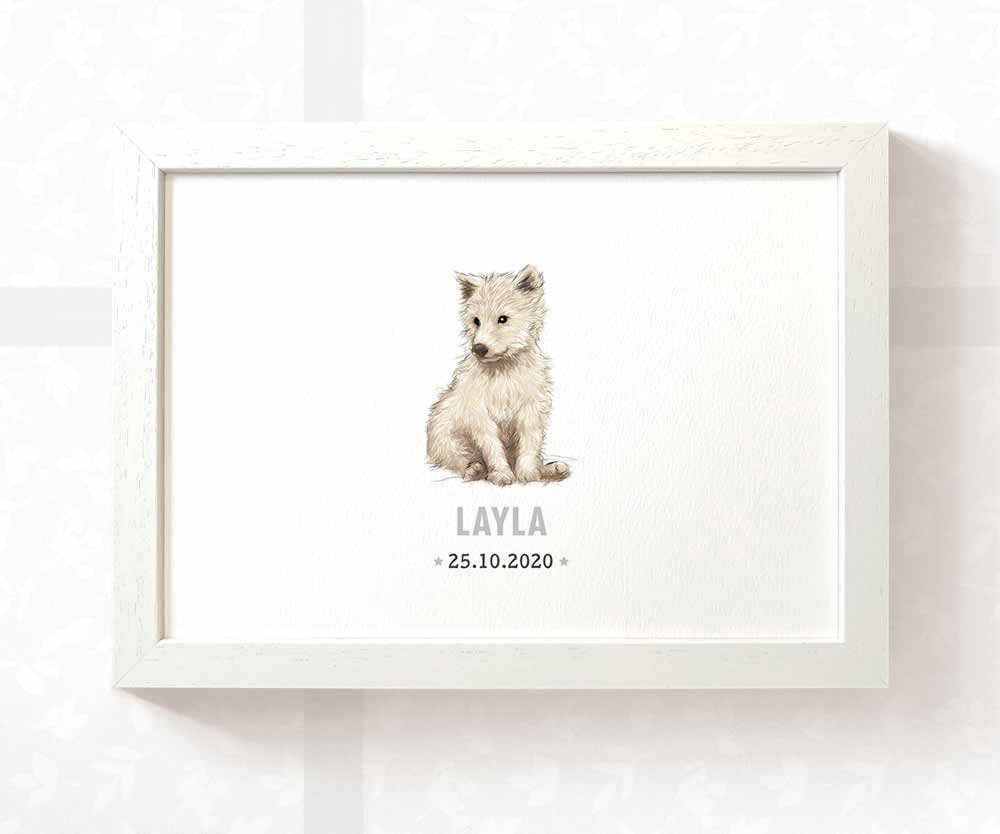 Wolf baby name and date print