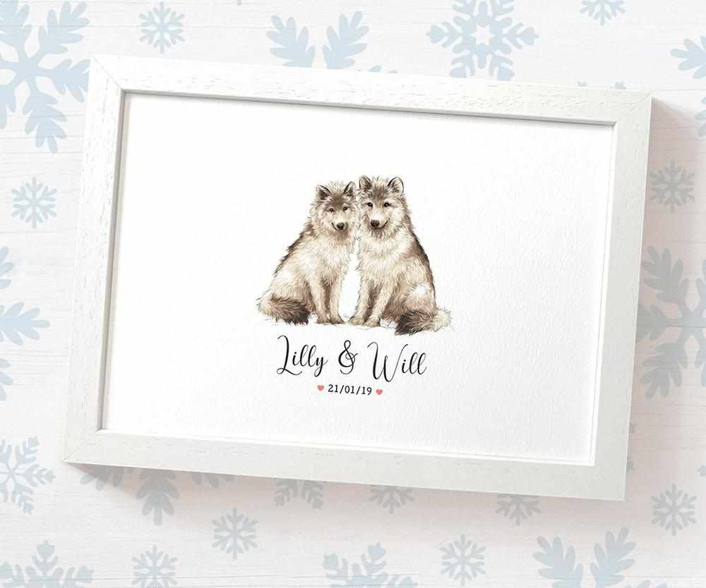 Wolf couple wedding name and date print