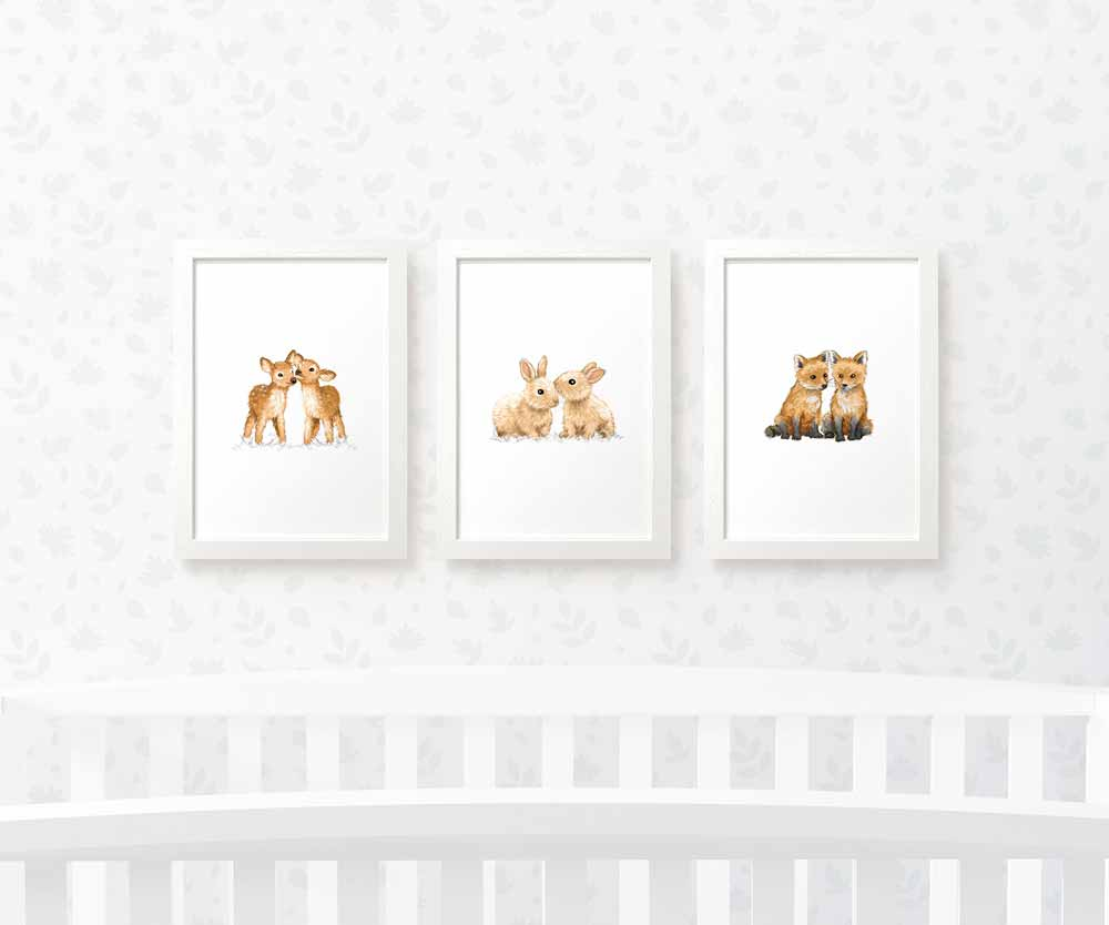 Twin Woodland animal art prints
