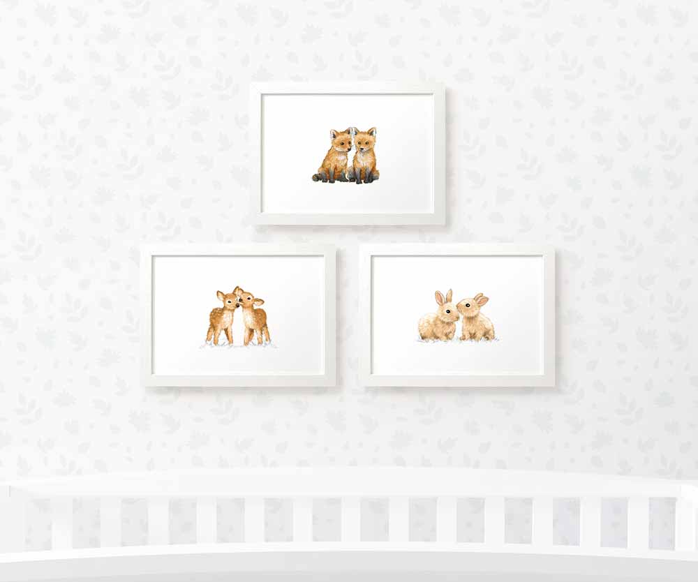 Twin Woodland nursery print set