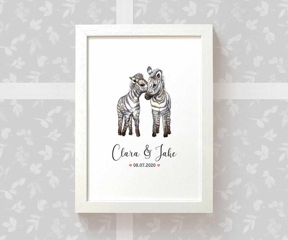 Zebra anniversary print with names and date